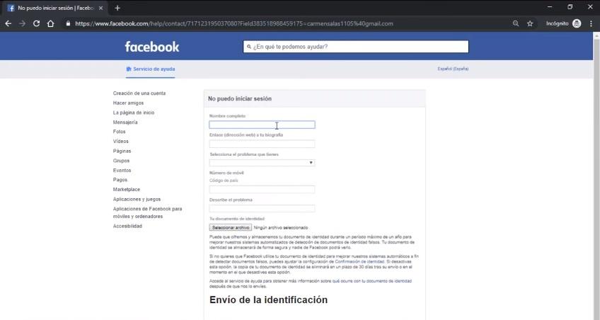 Formulario de envio de documento de identidad o identificacion facebook