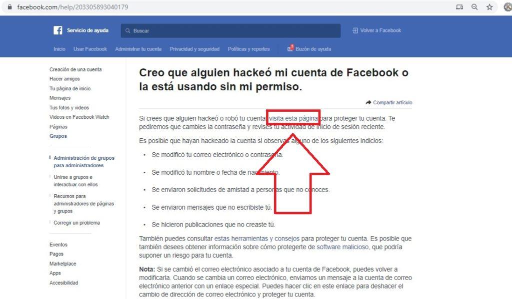 Visita esta pagina para recuperar tu facebook