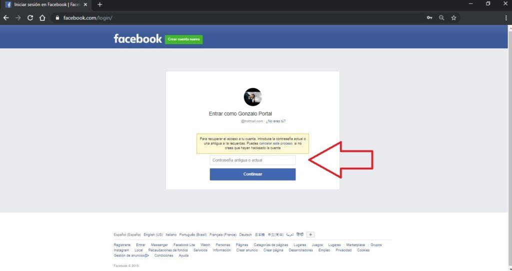 contraseña antigua de facebook
