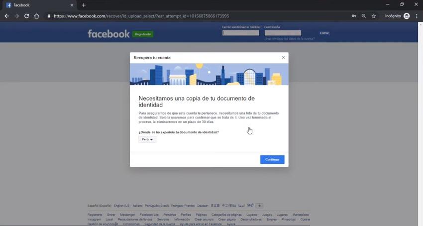 documento de identidad facebook