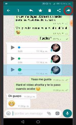reenviar audio de whatsapp a otro grupo