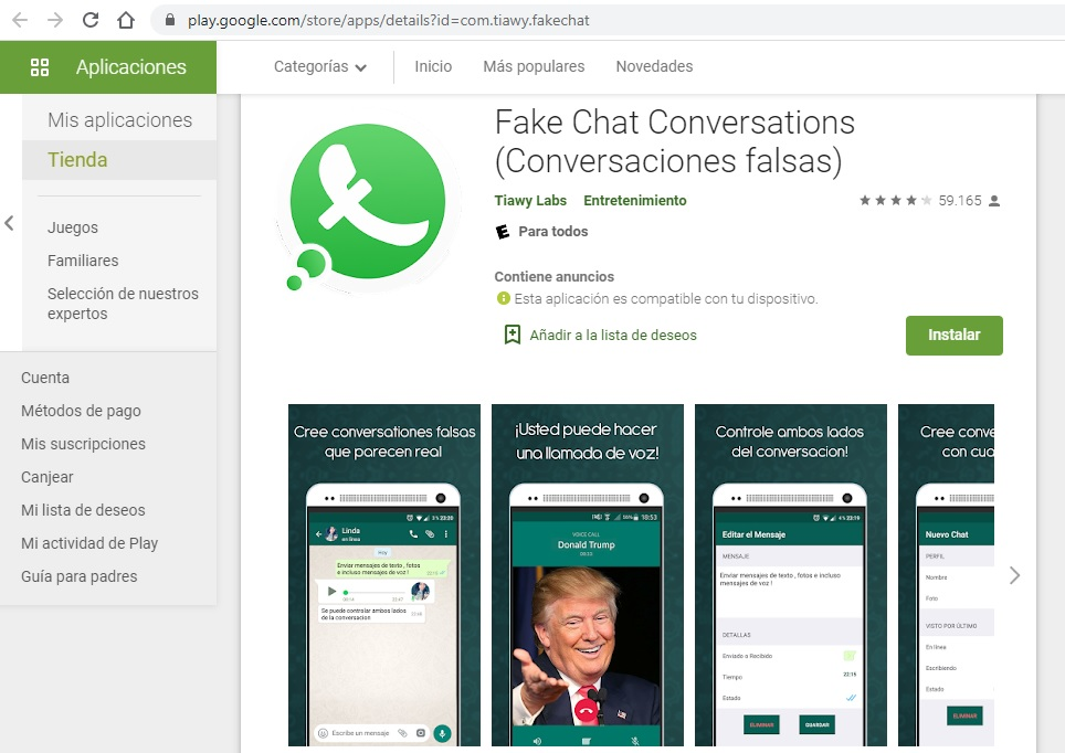 Aplicativo Fake Chat Conversation