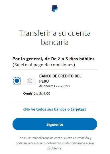 Transferia a su cuenta bancaria desde paypal