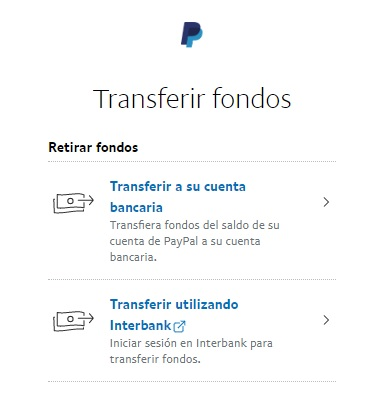 Transferir fondos paypal